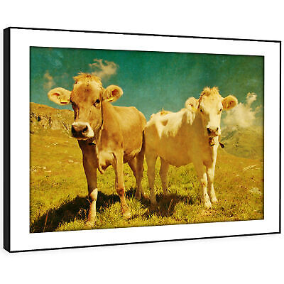 A643 Yellow Brown Cows Green Funky Animal Framed Wall Art Large Picture Prints