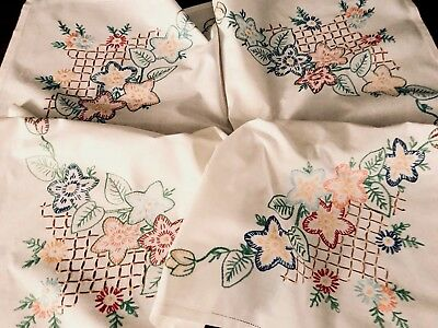 VINTAGE HAND EMBROIDERED Buttermilk Cream Cotton TABLE CLOTH  32x36 Inches