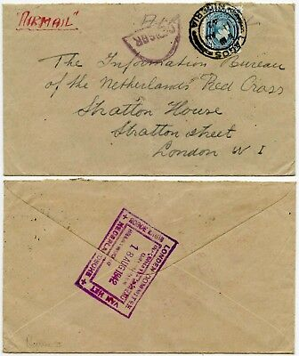 NIGERIA WW2 CENSORED to NETHERLANDS RED CROSS LONDON COMMITTEE HS 1942 AIRMAIL