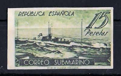 SPAIN 1938 Unused No Gum Submarine 15 P Dark Green IMPERF Yvert #629 CV €750