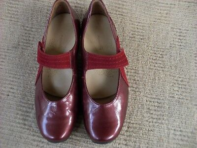Lovely  Deep Red Kumfs Patent Leather Mary Jane Heels, Size  38 - 7