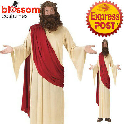 C522 Jesus Christ Holy Man Adult Religious Bibilical Xmas Costume Wig & Beard