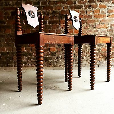 Hall Chairs Regency Mahogany Early 19th Century Circa 1811 Pair Antique