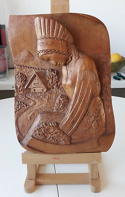 Vintage Decorative Hand Carved Wooden Wall Hanging Plaque