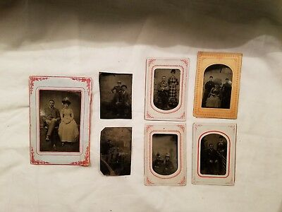 Antique 1800's Tin Type Metal Photo Lot Of 7 Some In Paper Matte Portraits Old