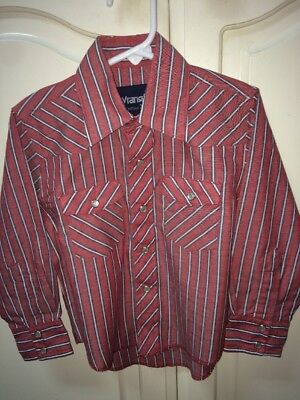 Boys Pearl Snap Wrangler Western Shirt size XS 3-4 Cowboy Rodeo Red Striped