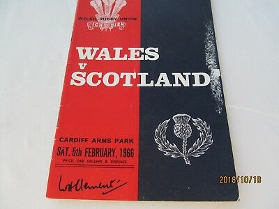 Wales v Scotland 1966 Rugby Programme. February 5th February 1966.