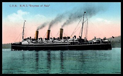 """Goldpath: US early Ship postcard, C.P.R. R.M.S. """"EMPRESS OF ASIA""""  _CV28_P4"""