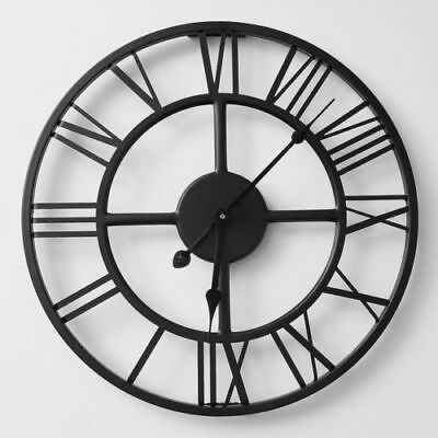 Round Wall Clock Metal Industrial Iron Vintage French Provincial Antique