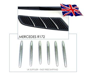 2011-2015 Mercedes Benz R172 SLK Chrome Bonnet Grill Hood fins - UK Supplier