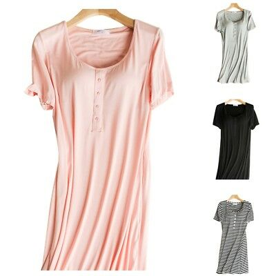 New Maternity Nightdress Nursing Nightgown Pregnant Women Pajamas With Chest Pad