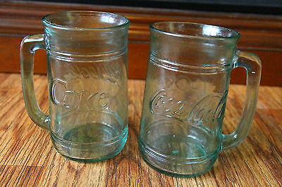 Coca Cola Green Glass Mug Set of 2 Stein Coke Drinkware Advertising
