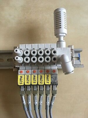 SMC manifold buid on DIN rail with 6 SMC SY3160-5LOZ-C4