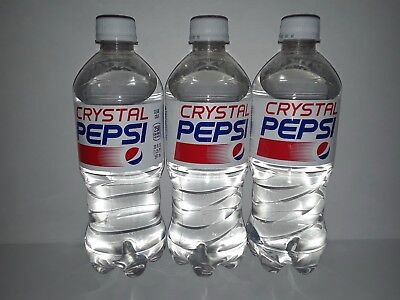 Crystal Pepsi New 3 20 oz Bottles Rare 2018 Limited Edition Expire Dec 2018
