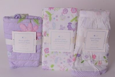 NWT Pottery Barn Kids Daisy Garden crib sheet, sham & skirt lavender Party purpl