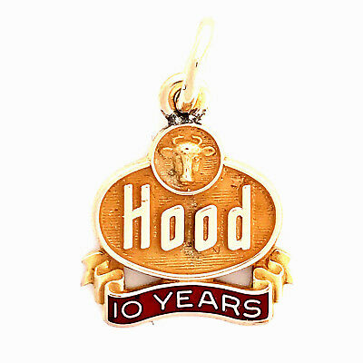 Vintage H. P. Hood 1/10 10K Gold 10 Yr Employee Service Award Charm w/ Jump Ring