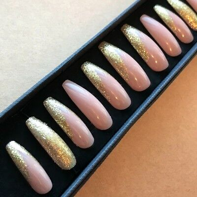Hand Painted False Nails XL COFFIN (or ANY) Nude & Gold Glitter Christmas Party