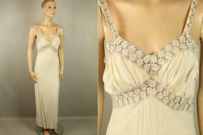 Vtg Antique 20s JULIANA Long Nightgown Lingerie Silk Floral Embroidered Lace 36