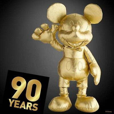 Disney Store Mickey Mouse Large Plush Gold Collection 90th Anniversary New