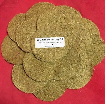Canary Nesting Pan Jute Felts x 25 Finches Canaries Linnet Breeding 5 inch Round