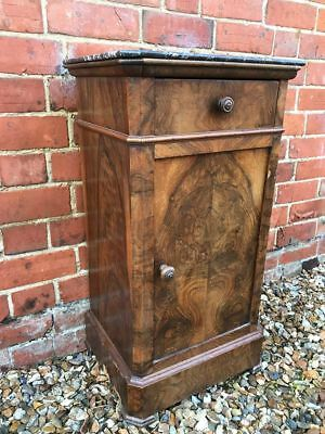 Antique French Marble-Topped Pot Cupboard / Bedside Cabinet