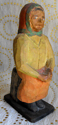 Old Vintage Handcarved And Painted Swedish Carved Old Woman Figure Sweden