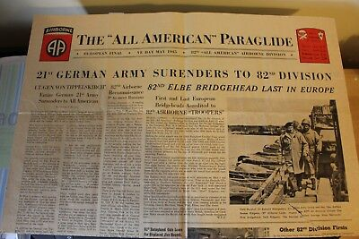 Original WW2 82nd Airborne VE Day newspaper ALL AMERICAN PARAGLIDE