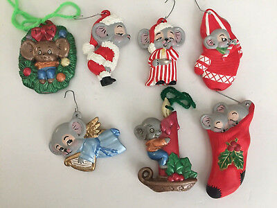 Vintage Lot of 7 Ceramic Mouse Christmas Ornaments