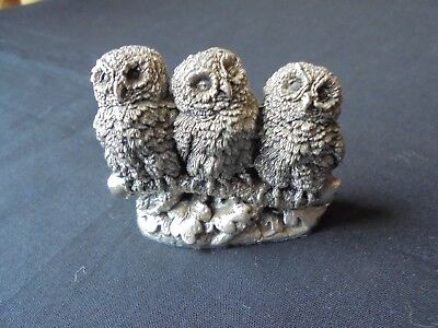 sterling silver trio of owls by country artists