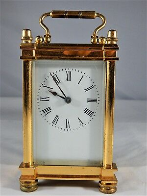 Brass Carriage 8 Day Clock With Bevelled Glass Sides