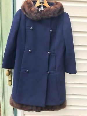 Blue Virgin Wool Sleeveless Dress and Coat Set with Real Fur Trim