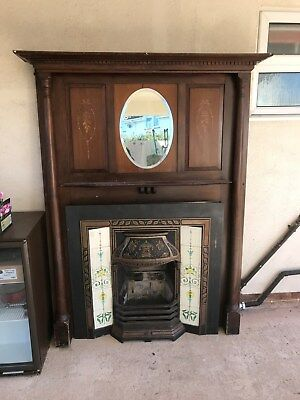 victorian fireplace with large timber surroung