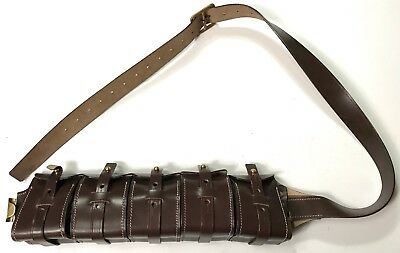 Wwi Swedish German M10 Leather 5 Pocket Ammo Bandoleer Bandolier
