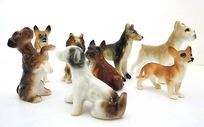 Vtg Bone China & Porcelain Miniature Dog Collection Beautiful Condition 8 Dogs
