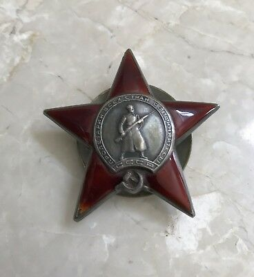Original Soviet Russian Order of the Red Star Medal USSR CCCP WW2 6 Digit