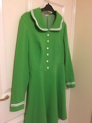 1960s Womens Green Day Dress - Vintage