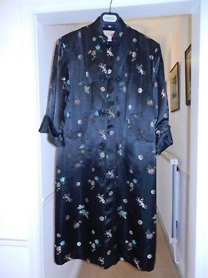 Vintage Chinese silk dressing gown - Peony - size 38 - black