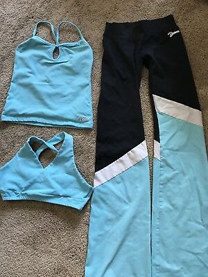 Bia Brazil Activewear One Size Light Teal 3 Piece Sports Bra, Top And Pants Set