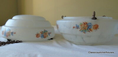 Fab Pair of Marbled & Floral Flycatcher Lampshades Art Deco Original Chains