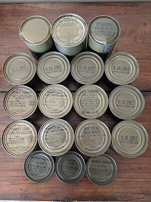 18, 1-1969 C-Ration Cans (6 Main Meals!) 4 Empty Boxes Cardboards Spoons & Case!