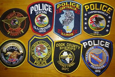 8 different Illinois IL Police & Sheriff patches NEW