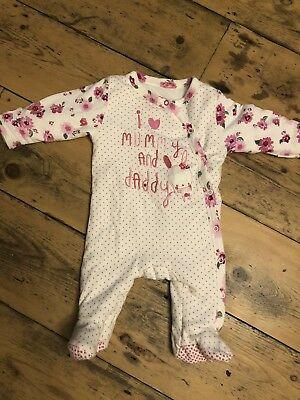 Baby Girls Mothercare Pink Floral Warm Bodysuit 0-3 Months