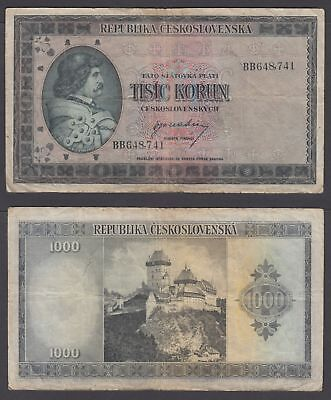 Czechoslovakia 1000 Korun 1945 (F) Condition Banknote P-65a Not Perforated