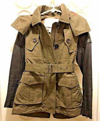 Burberry Kids Girls Green Leather Sleeve Mid-Lenght Canvas Trench Coat - Size 8Y