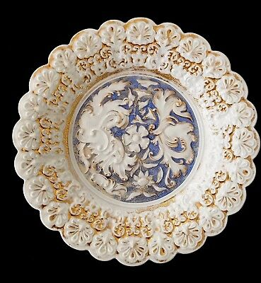 Meissen First Quality C 1824-1850 Antique Intricate Rococo Embossed Bowl Plate