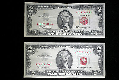 Series of 1963 $2 (Dollar) Bill  *Red Seal* United States Currency Prob :AC-GU