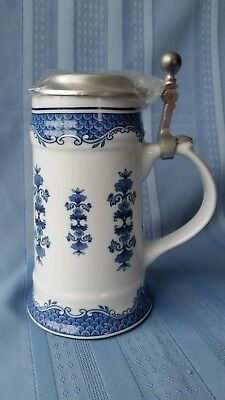 Cobalt Blue Pewter Lidded German Porcelain Stein Dr. Merkle Atelier
