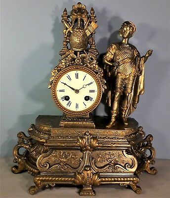 Antique French 8 Day Spelter Striking Mantel Clock