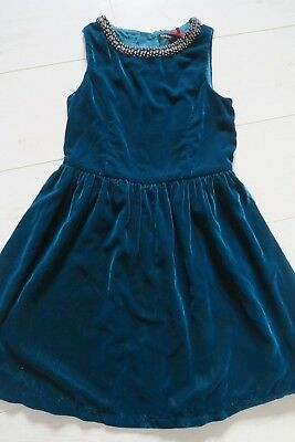 M&S AUTOGRAPH Girls' teal blue velvet christmas Party Dress Age 8-9 Years