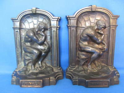 """Vintage Cast Pair of Metal Book Ends """"The Thinker""""- 5 1/2"""" Tall - bookends"""